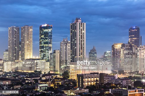Jakarta skyline at night : Stock Photo