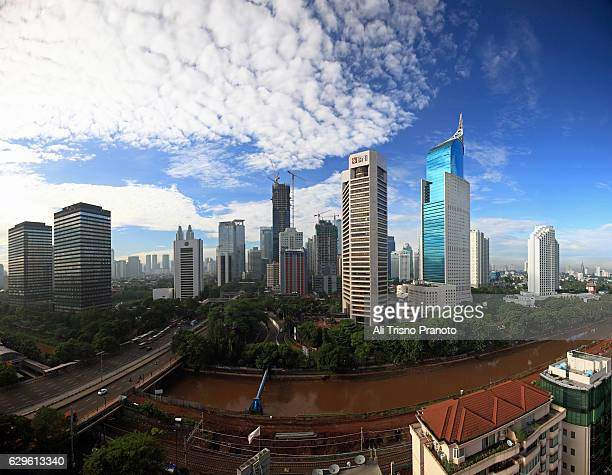 Jakarta Skyline with iconic BNI tower in clear morning. Jakarta City, Indonesia.