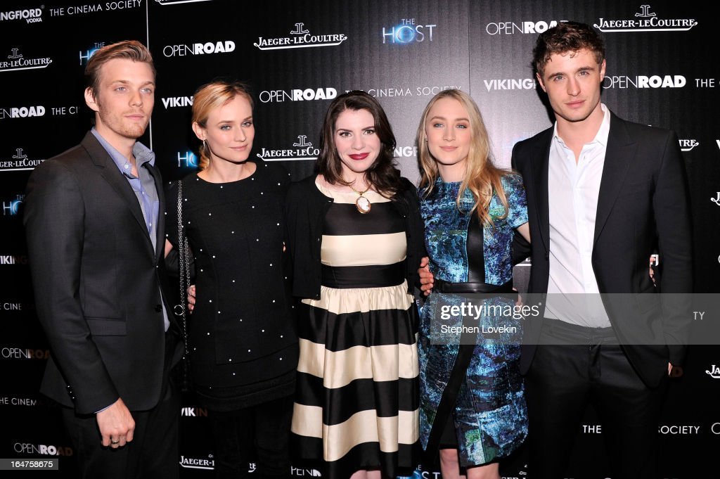 <a gi-track='captionPersonalityLinkClicked' href=/galleries/search?phrase=Jake+Abel&family=editorial&specificpeople=4684398 ng-click='$event.stopPropagation()'>Jake Abel</a>, <a gi-track='captionPersonalityLinkClicked' href=/galleries/search?phrase=Diane+Kruger&family=editorial&specificpeople=202640 ng-click='$event.stopPropagation()'>Diane Kruger</a>, <a gi-track='captionPersonalityLinkClicked' href=/galleries/search?phrase=Stephenie+Meyer&family=editorial&specificpeople=5476076 ng-click='$event.stopPropagation()'>Stephenie Meyer</a>, <a gi-track='captionPersonalityLinkClicked' href=/galleries/search?phrase=Saoirse+Ronan&family=editorial&specificpeople=4475637 ng-click='$event.stopPropagation()'>Saoirse Ronan</a> and <a gi-track='captionPersonalityLinkClicked' href=/galleries/search?phrase=Max+Irons&family=editorial&specificpeople=762929 ng-click='$event.stopPropagation()'>Max Irons</a> attend The Cinema Society and Jaeger-LeCoultre Hosts A Screening Of 'The Host' at Tribeca Grand Hotel on March 27, 2013 in New York City.