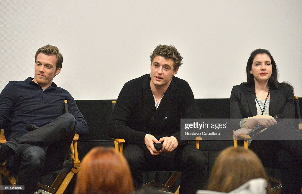 Jake Abel, <a gi-track='captionPersonalityLinkClicked' href=/galleries/search?phrase=Max+Irons&family=editorial&specificpeople=762929 ng-click='$event.stopPropagation()'>Max Irons</a> and <a gi-track='captionPersonalityLinkClicked' href=/galleries/search?phrase=Stephenie+Meyer&family=editorial&specificpeople=5476076 ng-click='$event.stopPropagation()'>Stephenie Meyer</a> answer questions during 'The Host' Miami Q&A Screening at AMC Sunset Place on February 18, 2013 in Miami, Florida.