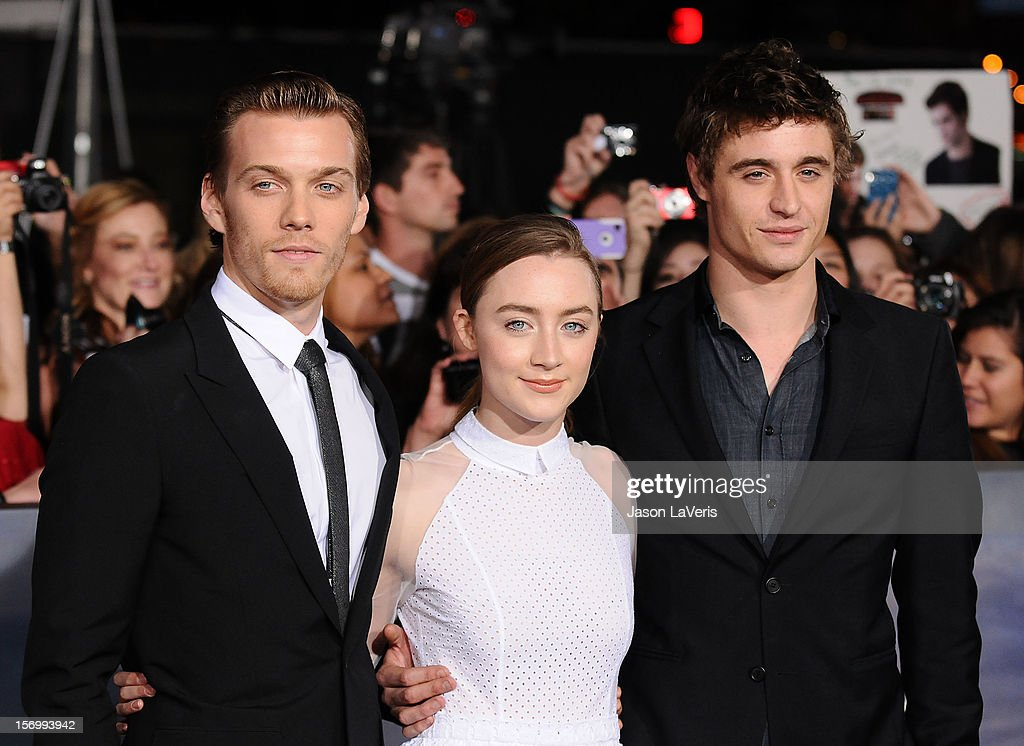 Jake Abel, Saoirse Ronan and Max Irons attend the premiere of 'The Twilight Saga: Breaking Dawn - Part 2' at Nokia Theatre L.A. Live on November 12, 2012 in Los Angeles, California.