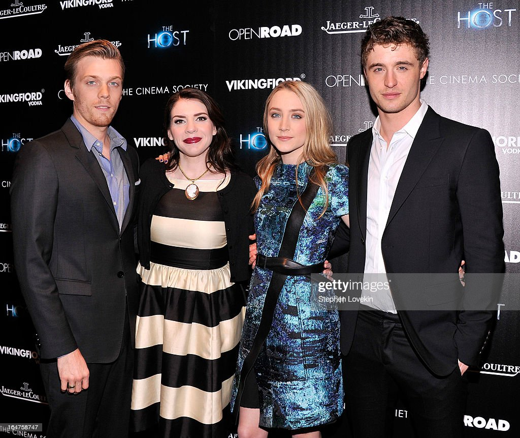 <a gi-track='captionPersonalityLinkClicked' href=/galleries/search?phrase=Jake+Abel&family=editorial&specificpeople=4684398 ng-click='$event.stopPropagation()'>Jake Abel</a>, <a gi-track='captionPersonalityLinkClicked' href=/galleries/search?phrase=Stephenie+Meyer&family=editorial&specificpeople=5476076 ng-click='$event.stopPropagation()'>Stephenie Meyer</a>, <a gi-track='captionPersonalityLinkClicked' href=/galleries/search?phrase=Saoirse+Ronan&family=editorial&specificpeople=4475637 ng-click='$event.stopPropagation()'>Saoirse Ronan</a> and <a gi-track='captionPersonalityLinkClicked' href=/galleries/search?phrase=Max+Irons&family=editorial&specificpeople=762929 ng-click='$event.stopPropagation()'>Max Irons</a> attend The Cinema Society and Jaeger-LeCoultre Hosts A Screening Of 'The Host' at Tribeca Grand Hotel on March 27, 2013 in New York City.