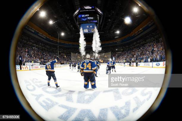 Jake Allen of the St Louis Blues and Vladimir Tarasenko of the St Louis Blues acknowledge the fans after defeating the Nashville Predators in Game...