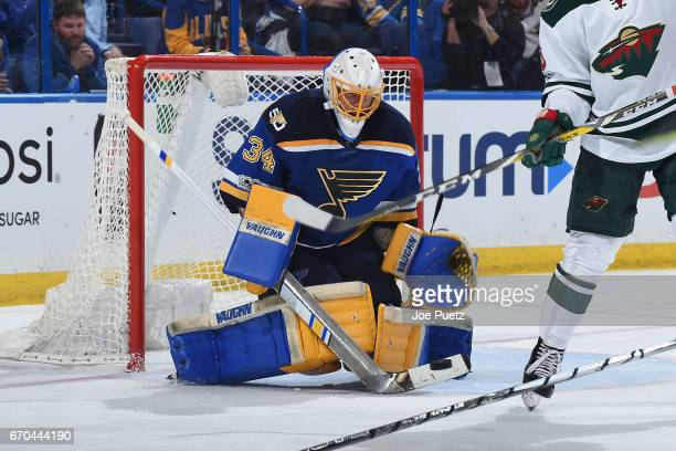 Jake Allen of the St Louis Blues blocks a shot from the Minnesota Wild in Game Four of the Western Conference First Round during the 2017 NHL Stanley...