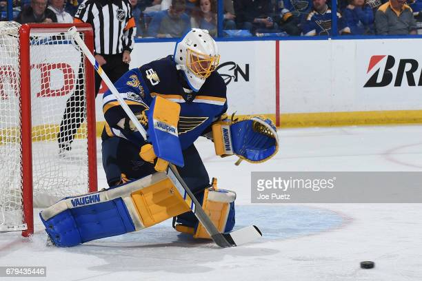 Jake Allen of the St Louis Blues blocks a shot from the Nashville Predators in Game Five of the Western Conference Second Round during the 2017 NHL...