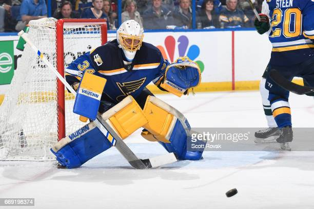 Jake Allen of the St Louis Blues blocks a shot made from the Minnesota Wild in Game Three of the Western Conference First Round during the 2017 NHL...