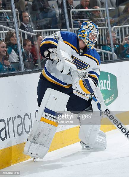 Jake Allen of the St Louis Blues collects the puck against the San Jose Sharks during an NHL game on December 20 2014 at SAP Center in San Jose...