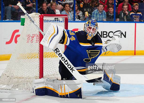 Jake Allen of the St Louis Blues defends the net against the Chicago Blackhawks on April 9 2015 at the Scottrade Center in St Louis Missouri
