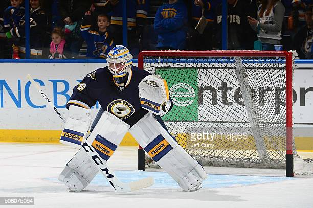 Jake Allen of the St Louis Blues defends the net against the Dallas Stars on December 26 2015 at Scottrade Center in St Louis Missouri