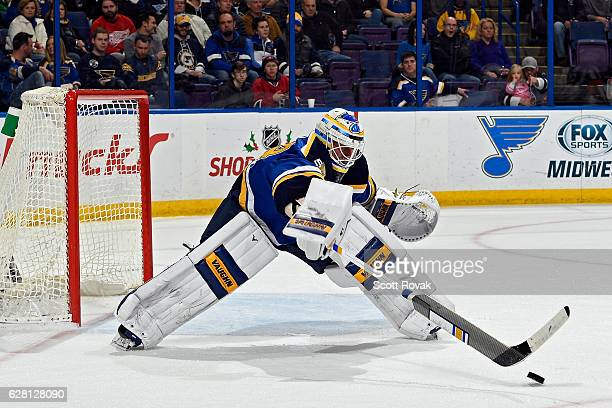 Jake Allen of the St Louis Blues defends the net against the Montreal Canadiens on December 6 2016 at Scottrade Center in St Louis Missouri