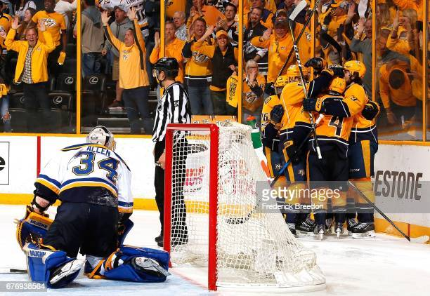 Jake Allen of the St Louis Blues gets off the ice after giving up a goal to Ryan Ellis of the Nashville Predators during the third period of Game...