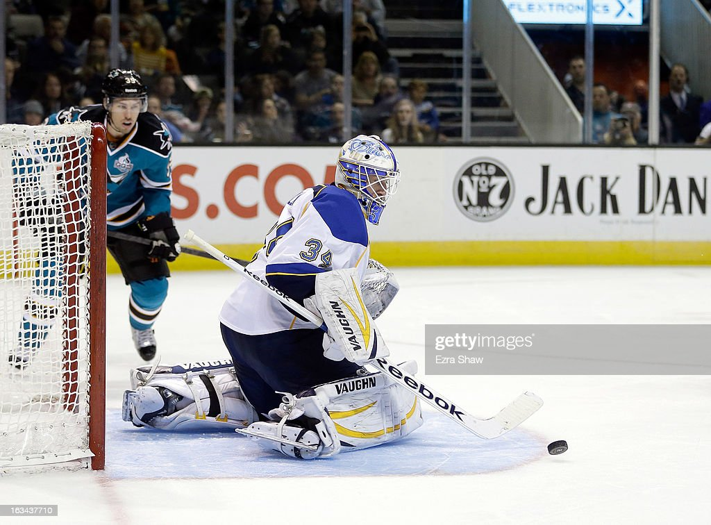 Jake Allen #34 of the St. Louis Blues in action against the San Jose Sharks at HP Pavilion on March 9, 2013 in San Jose, California.