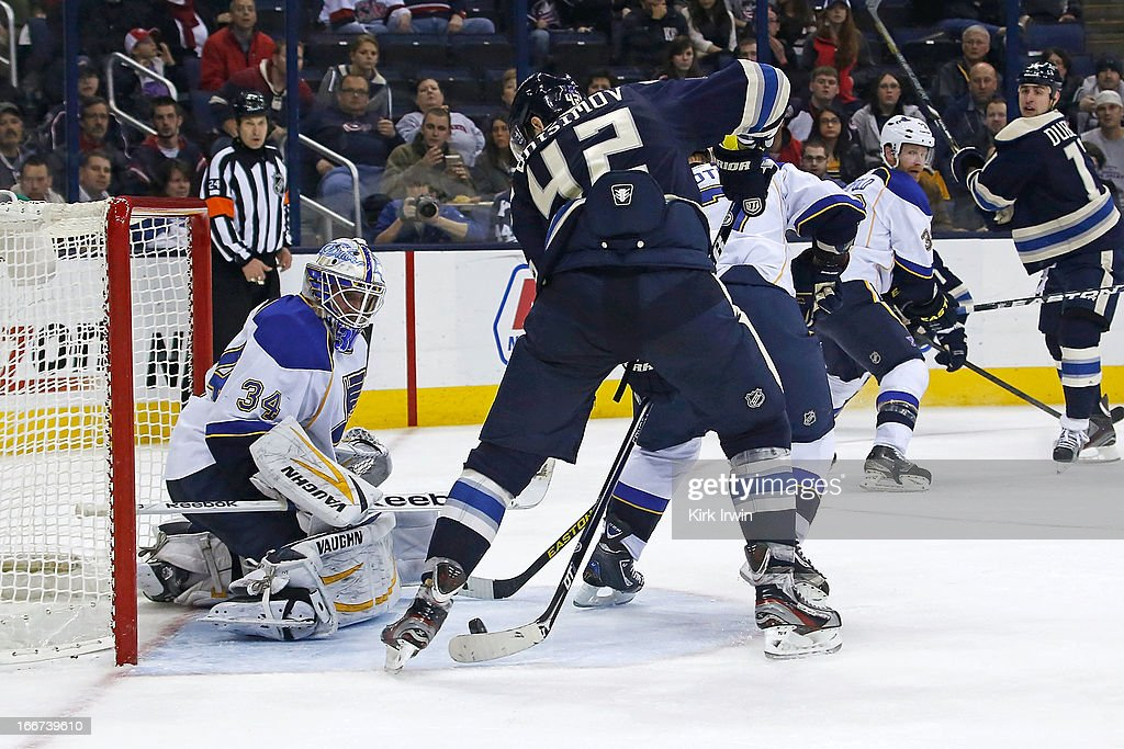 Jake Allen #34 of the St. Louis Blues is unable to stop the shot from Artem Ansimov #42 of the Columbus Blue Jackets on April 12, 2013 at Nationwide Arena in Columbus, Ohio.