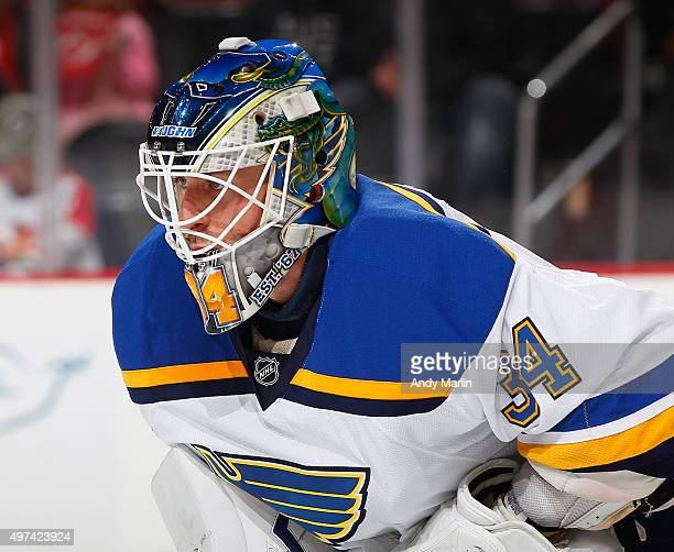 Jake Allen of the St Louis Blues looks on against the New Jersey Devils during the game at the Prudential Center on November 10 2015 in Newark New...