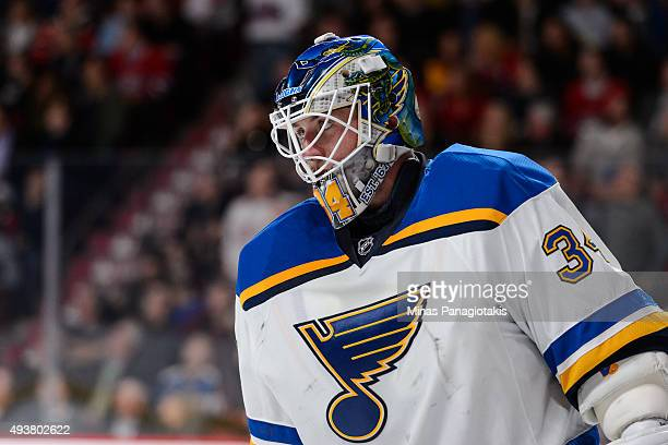 Jake Allen of the St Louis Blues looks on during the NHL game against the Montreal Canadiens at the Bell Centre on October 20 2015 in Montreal Quebec...