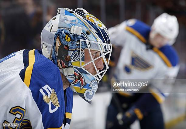 Jake Allen of the St Louis Blues looks on during warmups before the game against the Anaheim Ducks on January 15 2017 at Honda Center in Anaheim...