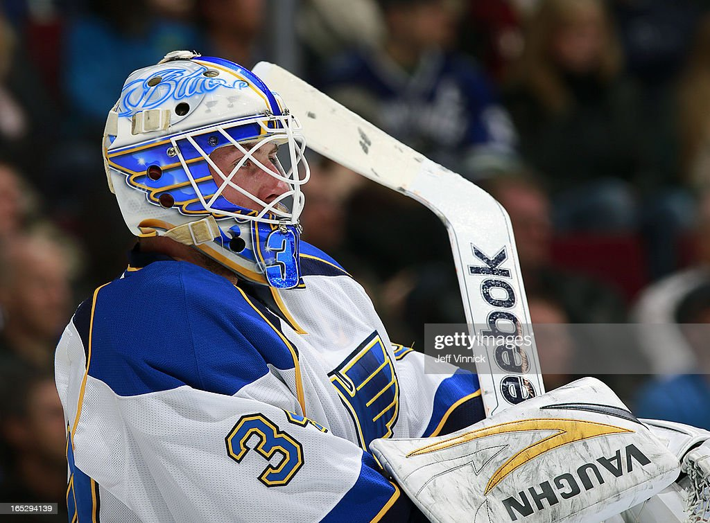 Jake Allen #34 of the St. Louis Blues looks on from his crease during an NHL game against the Vancouver Canucks at Rogers Arena March 19, 2013 in Vancouver, British Columbia, Canada.