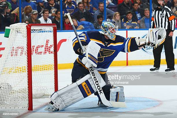 Jake Allen of the St Louis Blues makes a save against the Los Angeles Kings on November 3 2015 at Scottrade Center in St Louis Missouri
