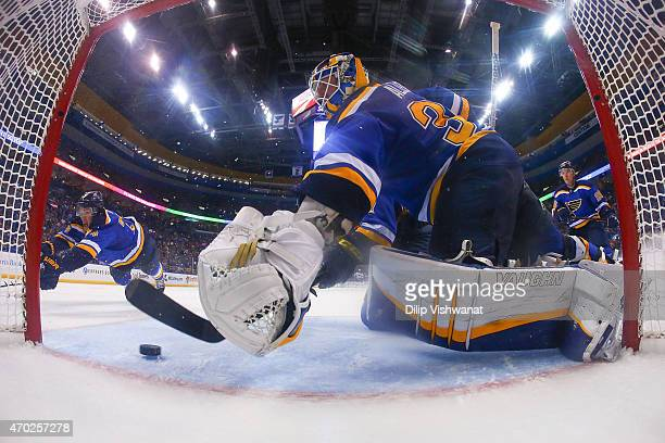 Jake Allen of the St Louis Blues makes a save against the Minnesota Wild during Game Two of the Western Conference Quarterfinals during the 2015 NHL...
