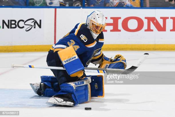Jake Allen of the St Louis Blues makes a save against the Minnesota Wild in Game Four of the Western Conference First Round during the 2017 NHL...