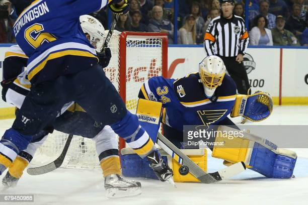 Jake Allen of the St Louis Blues makes a save against the Nashville Predators in Game Five of the Western Conference Second Round during the 2017 NHL...