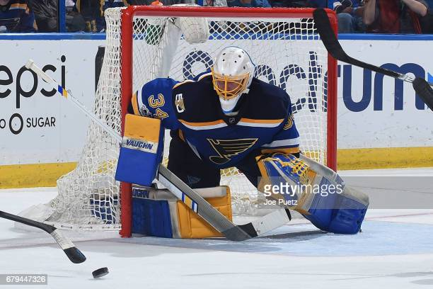 Jake Allen of the St Louis Blues makes a save on a shot from the Nashville Predators in Game Five of the Western Conference Second Round during the...