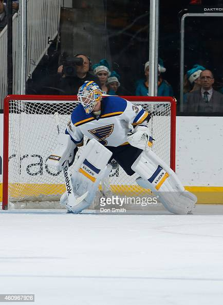 Jake Allen of the St Louis Blues makes a stop against the San Jose Sharks during an NHL game on December 20 2014 at SAP Center in San Jose California