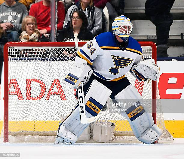 Jake Allen of the St Louis Blues prepares for a shot against the Toronto Maple Leafs during game action on January 2 2016 at Air Canada Centre in...