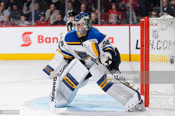 Jake Allen of the St Louis Blues protects his net during the NHL game against the Montreal Canadiens at the Bell Centre on October 20 2015 in...