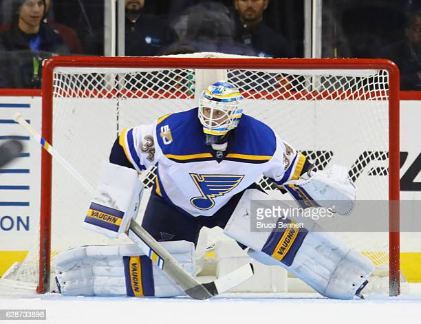 Jake Allen of the St Louis Blues skates against the New York Islanders at the Barclays Center on December 8 2016 in the Brooklyn borough of New York...