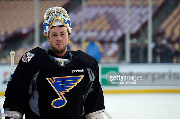 Jake Allen of the St Louis Blues skates on the ice during practice for the 2017 Bridgestone NHL Winter Classic at Busch Stadium on January 1 2017 in...