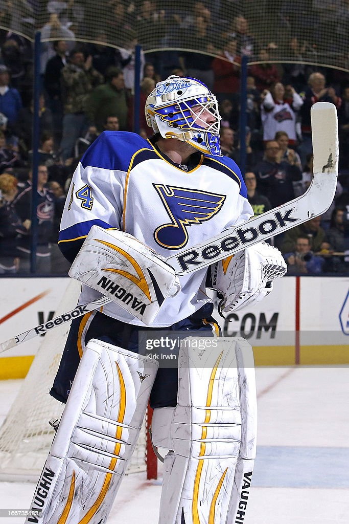 Jake Allen #34 of the St. Louis Blues skates out of the net after giving up a goal during the game against the Columbus Blue Jackets on April 12, 2013 at Nationwide Arena in Columbus, Ohio.