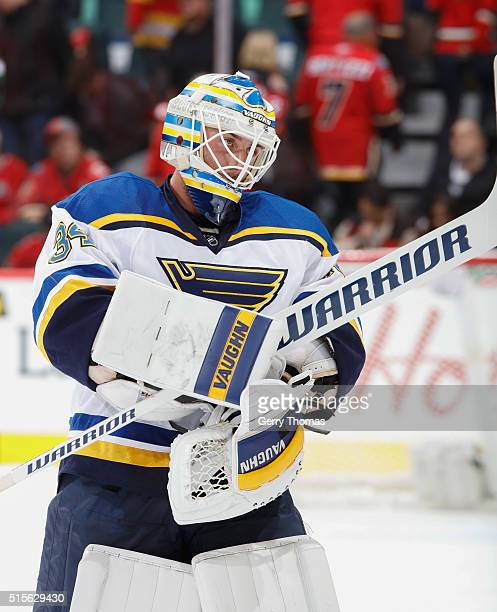 Jake Allen of the St Louis Blues stays focused against the Calgary Flames at Scotiabank Saddledome on March 14 2016 in Calgary Alberta Canada