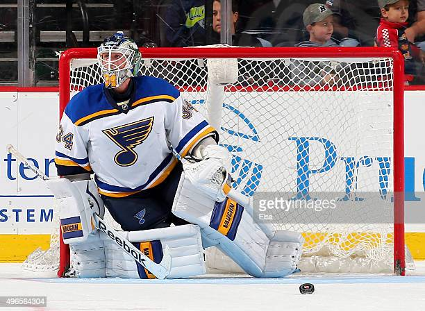Jake Allen of the St Louis Blues stops a shot in the third period against the New Jersey Devils on November 10 2015 at the Prudential Center in...