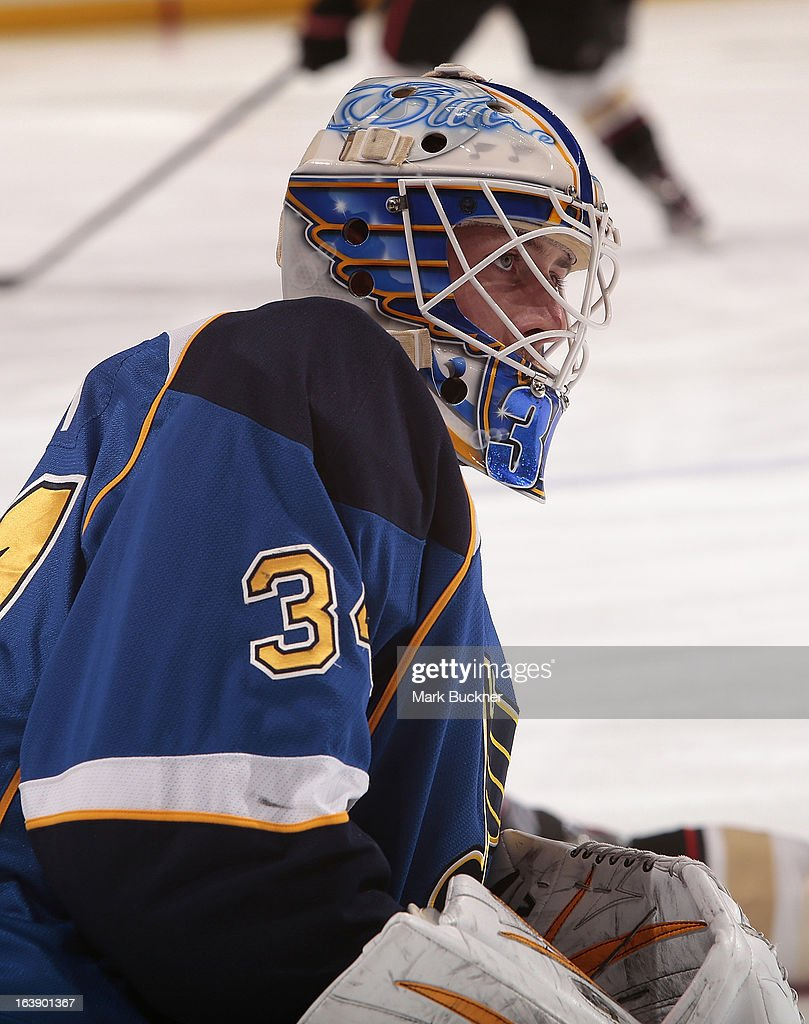 Jake Allen #34 of the St. Louis Blues stretches before an NHL game against the Anaheim Ducks on March 16, 2013 at Scottrade Center in St. Louis, Missouri.