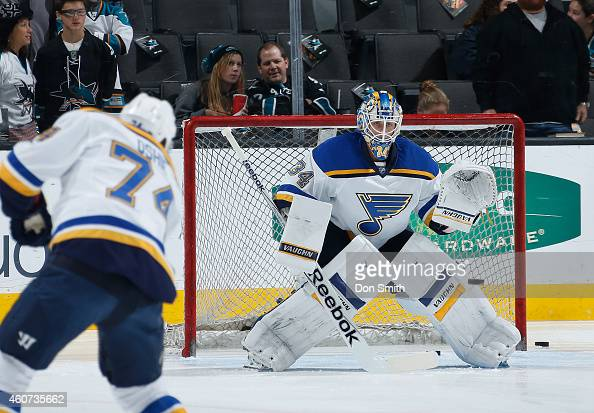Jake Allen of the St Louis Blues takes shots in warmups against the San Jose Sharks during an NHL game on December 20 2014 at SAP Center in San Jose...