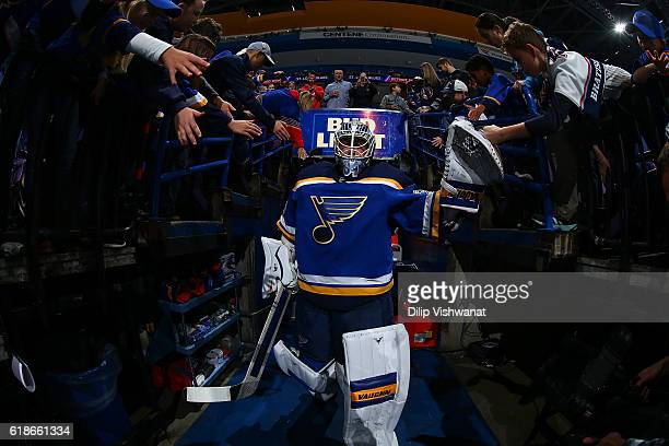 Jake Allen of the St Louis Blues takes the ice for warmups prior to playing against the Detroit Red Wings at the Scottrade Center on October 27 2016...