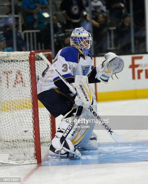 Jake Allen of the St Louis Blues warms up before a game against the San Jose Sharks during an NHL game on March 9 2013 at HP Pavilion in San Jose...