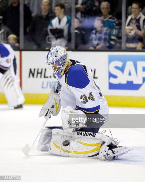 Jake Allen of the St Louis Blues warms up before their game against the San Jose Sharks at HP Pavilion on March 9 2013 in San Jose California