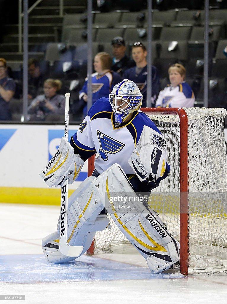 Jake Allen #34 of the St. Louis Blues warms up before their game against the San Jose Sharks at HP Pavilion on March 9, 2013 in San Jose, California.