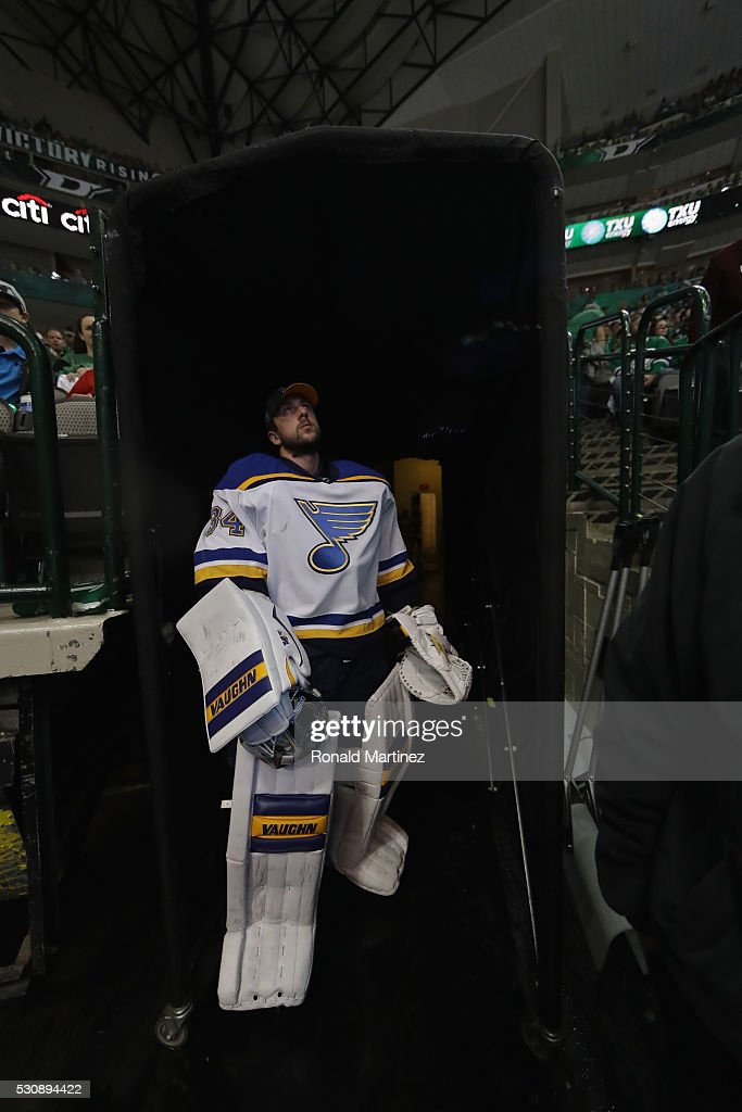 Jake Allen #34 of the St. Louis Blues watches play in the third period against the Dallas Stars in Game Seven of the Western Conference Second Round during the 2016 NHL Stanley Cup Playoffs at American Airlines Center on May 11, 2016 in Dallas, Texas.