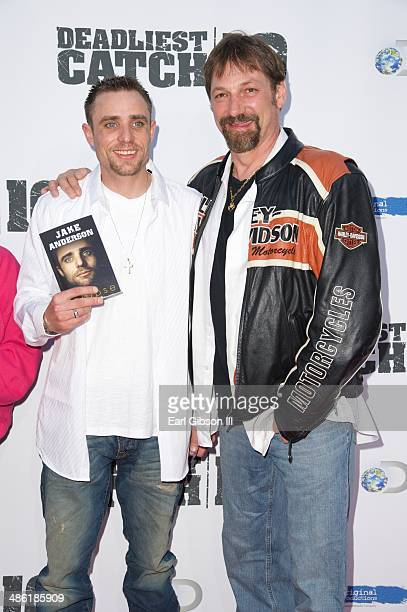 Jake Anderson and Johnathan Hillstrand attend the premiere of the 10th season of 'Deadliest Catch' at ArcLight Cinemas on April 22 2014 in Hollywood...