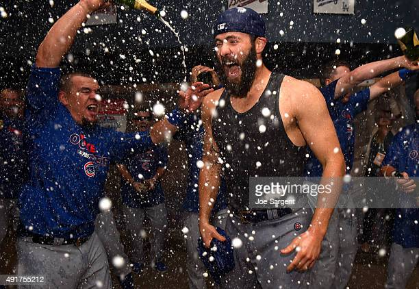Jake Arrieta of the Chicago Cubs celebrates after defeating the Pittsburgh Pirates 40 in the National League Wild Card Game on Wednesday October 7...