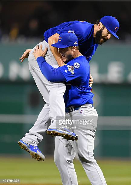 Jake Arrieta of the Chicago Cubs celebrates with Anthony Rizzo after beating the Pittsburgh Pirates 40 the National League Wild Card Game on...