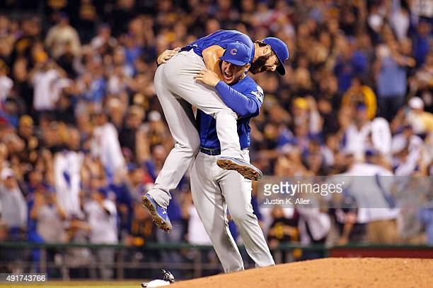 Jake Arrieta of the Chicago Cubs celebrates with Anthony Rizzo of the Chicago Cubs after defeating the Pittsburgh Pirates to win the National League...