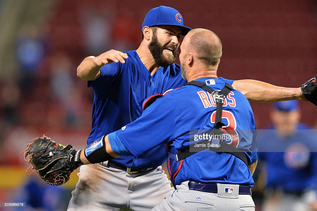 <a gi-track='captionPersonalityLinkClicked' href=/galleries/search?phrase=Jake+Arrieta&family=editorial&specificpeople=5437045 ng-click='$event.stopPropagation()'>Jake Arrieta</a> #49 of the Chicago Cubs celebrates with catcher <a gi-track='captionPersonalityLinkClicked' href=/galleries/search?phrase=David+Ross&family=editorial&specificpeople=210843 ng-click='$event.stopPropagation()'>David Ross</a> #3 of the Chicago Cubs after throwing a no-hitter against the Cincinnati Reds at Great American Ball Park on April 21, 2016 in Cincinnati, Ohio. Chicago defeated Cincinnati 16-0.