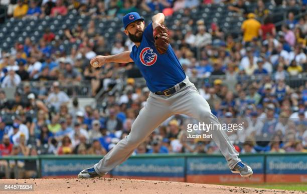 Jake Arrieta of the Chicago Cubs delivers a pitch during the game against the Pittsburgh Pirates at PNC Park on September 4 2017 in Pittsburgh...