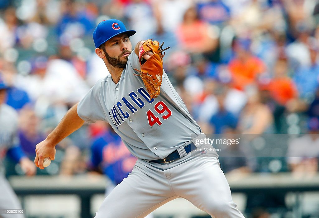 Jake Arrieta #49 of the Chicago Cubs in action against the New York Mets at Citi Field on August 17, 2014 in the Flushing neighborhood of the Queens borough of New York City. The Cubs defeated the Mets 2-1.