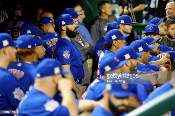 Jake Arrieta of the Chicago Cubs looks on prior to Game 1 of the National League Division Series against the Washington Nationals at Nationals Park...