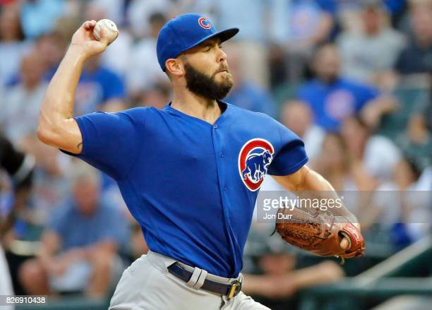 Jake Arrieta of the Chicago Cubs pitches against the Chicago White Sox during the first inning at Guaranteed Rate Field on July 26 2017 in Chicago...